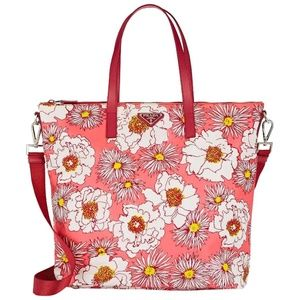 Prada Leather-trimmed Floral Nylon Tote